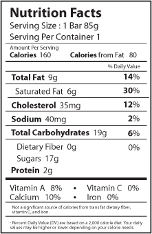 vanilla nutrition facts